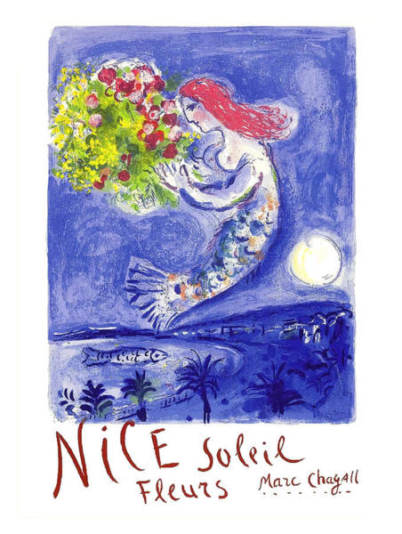 Wall Art - Digital Art - France Nice Soleil Fleurs Vintage 1961 Travel Poster By Marc Chagall by Retro Graphics