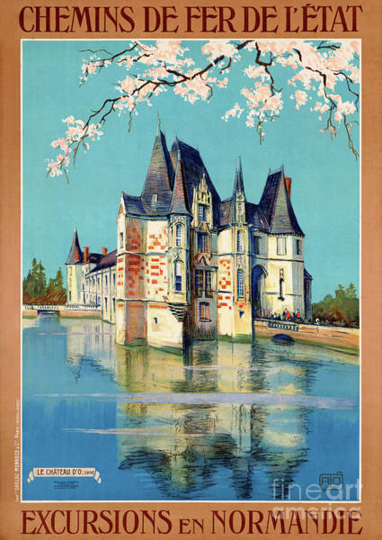 European Vacation Mixed Media - France Normandy Restored Vintage Travel Poster by Vintage Treasure