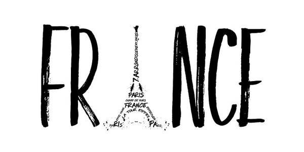 Contour Digital Art - France Typography Panoramic by Melanie Viola