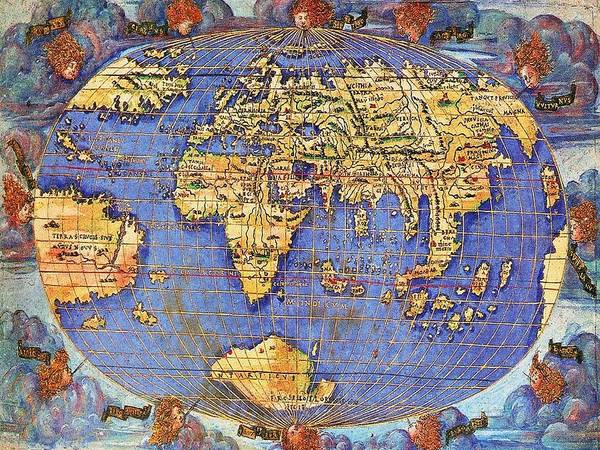 Wall Art - Photograph - Francesco Rosselli's World Map 1508 by L Brown