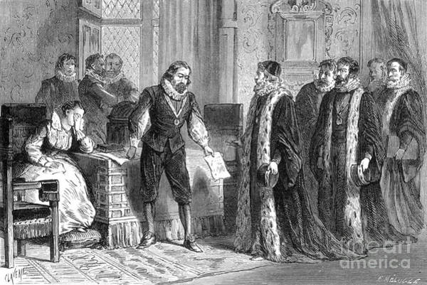 1621 Photograph - Francis Bacon Confesses To Parliament by Science Source