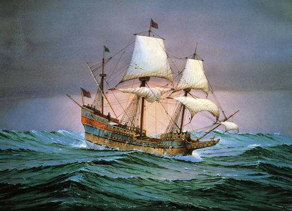 Galleons Wall Art - Painting - Francis Drake Sailed His Ship Golden Hind Into History by Cornelis de Vries