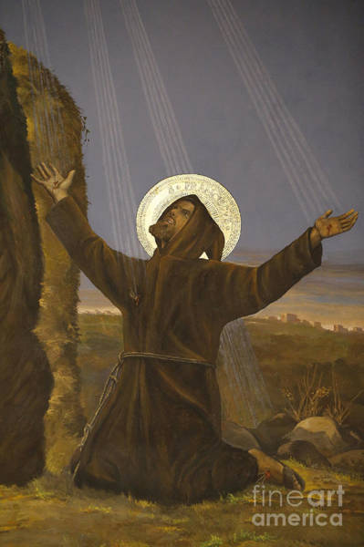 Kneeling Painting - Francis Of Assisi Receives The Stigmata by Italian School