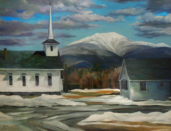 Painting - Franconia Village In Winter by Nancy Griswold