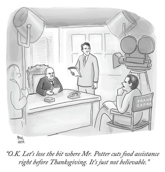 6 Drawing - Frank Capra Filming Mr Potter by Paul Noth