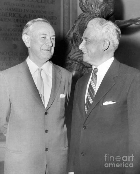 Hogan Photograph - Frank S. Hogan And Representative Kenneth B. Keating At A Assembly At Barnard College In 1958. by William Jacobellis