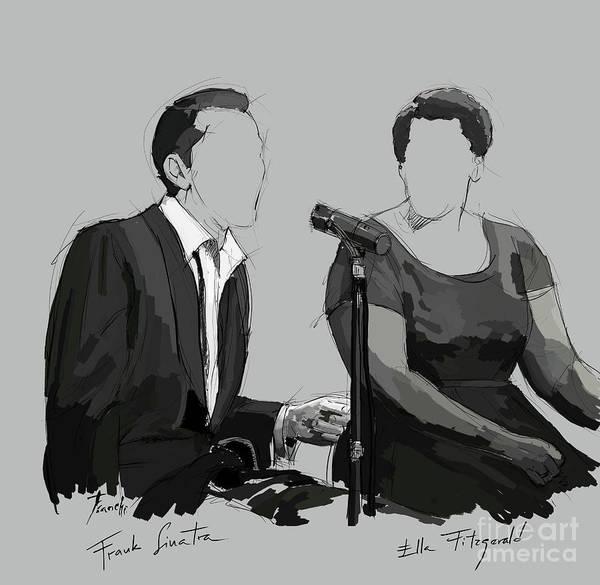 Wall Art - Digital Art - Frank Sinatra And Ella Fitzerald, Good Old Fashion Jazz, Singers by Drawspots Illustrations