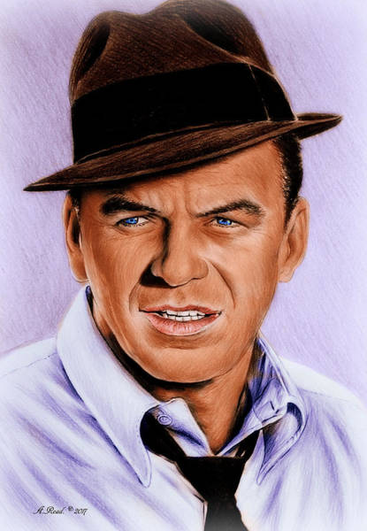 Handsome Drawing - Frank Sinatra Blue Edit by Andrew Read