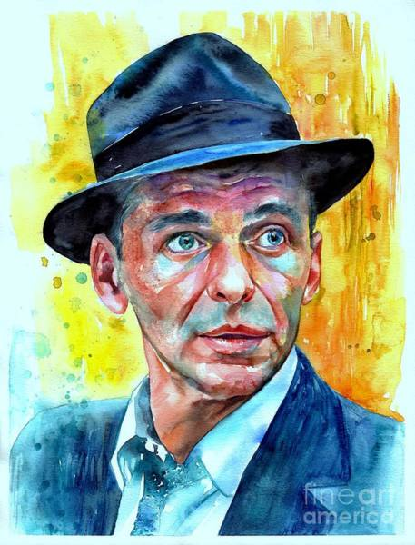 Wall Art - Painting - Frank Sinatra In Blue Fedora by Suzann Sines