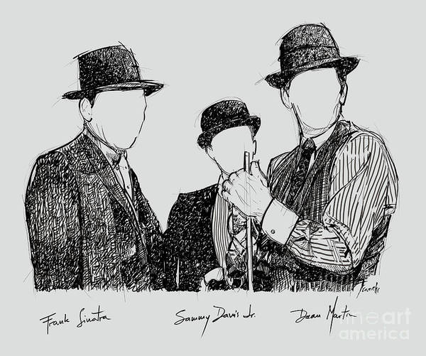 Marker Drawing - Frank Sinatra, Sammy Davis Jr And Dean Martin, A Part Of The Rat Pack by Drawspots Illustrations