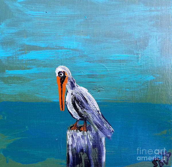 Gulf Shores Alabama Painting - Frank The Bayou Pelican - Coastal Abstract by Scott D Van Osdol