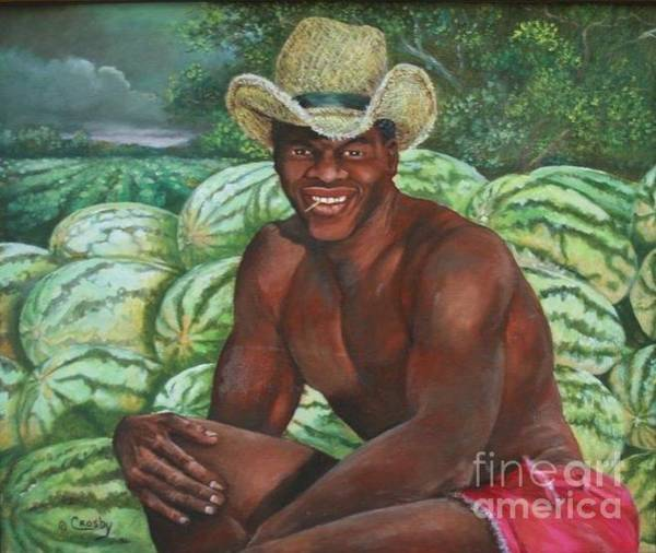 Southern Charm Painting - Frank The Watermelon Man by Toni Crosby