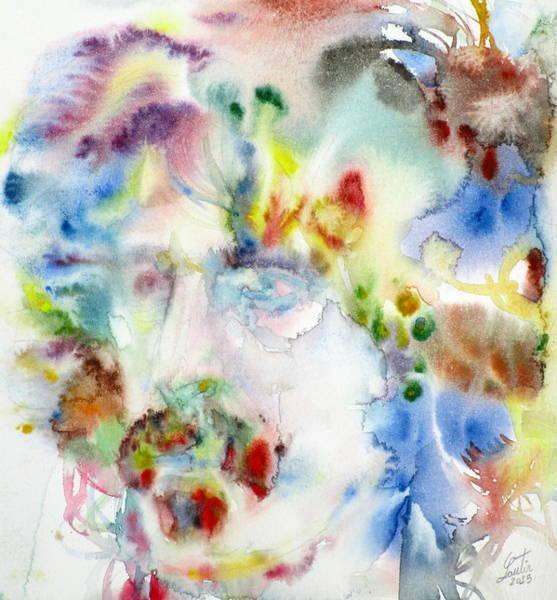 Frank Zappa Wall Art - Painting - Frank Zappa - Watercolor Portrait.7 by Fabrizio Cassetta