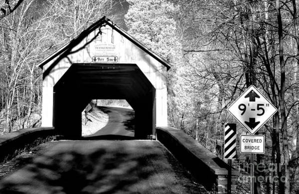 Photograph - Frankenfield Covered Bridge Infrared by John Rizzuto