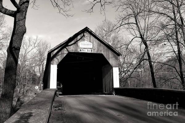 Wall Art - Photograph - Frankenfield Covered Bridge Mono by John Rizzuto