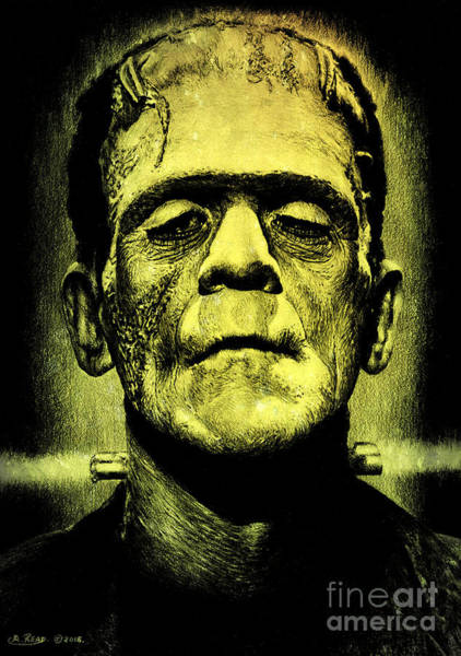Colored Pencils Mixed Media - Frankenstein Green Glow Version by Andrew Read