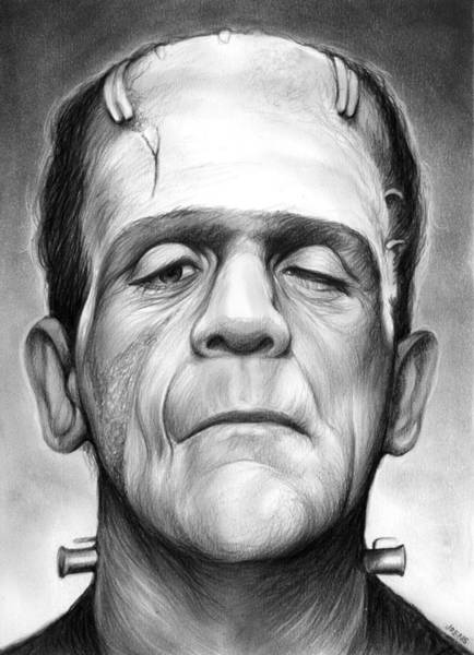 Drawing - Frankenstein by Greg Joens