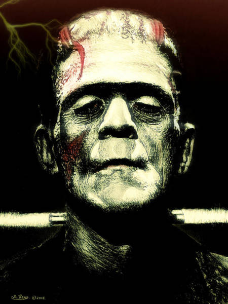Coloured Pencil Drawing - Frankenstein Monster Lightning Edit by Andrew Read