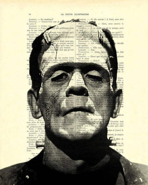 Spooky Digital Art - Frankenstein On Dictionary Page by Madame Memento