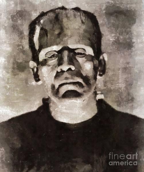 Frankenstein Painting - Frankenstein, Vintage Horror by Mary Bassett