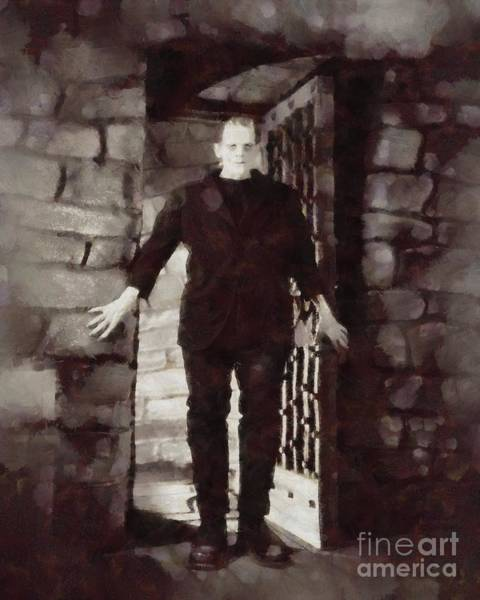 Frankenstein Painting - Frankenstein, Vintage Horror by Sarah Kirk
