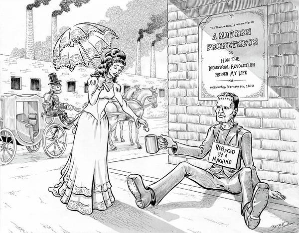 Drawing - Frankenstein's Legacy by Barry Munden