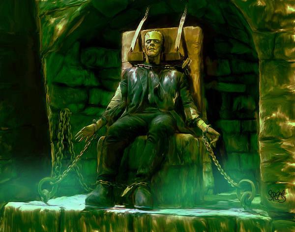 Frankenstein Painting - Frankenstien Chained by Mark Spears
