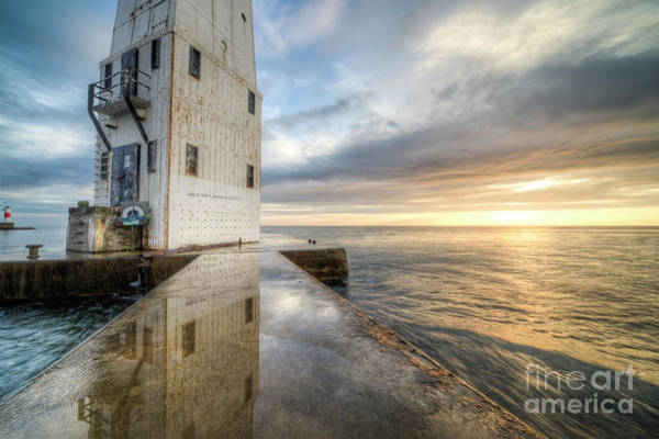 Up North Photograph - Frankfort North Breakwater Reflection by Twenty Two North Photography