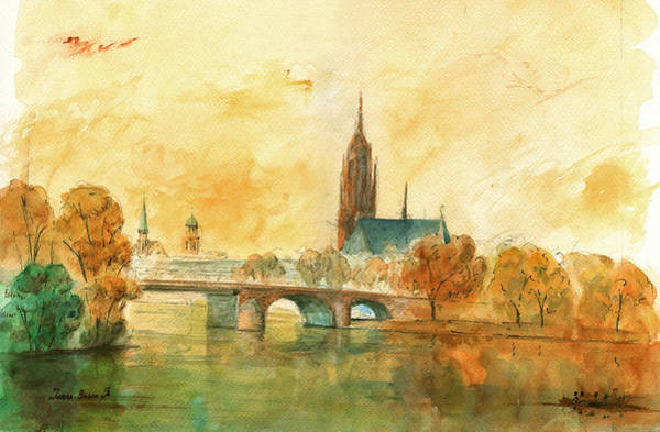 Wall Art - Painting - Frankfurt Cityscape With Dom by Juan  Bosco