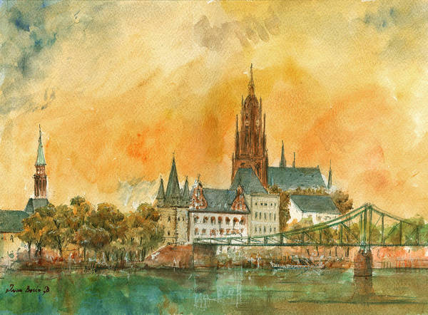 Watercolor Painting - Frankfurt Watercolor by Juan  Bosco