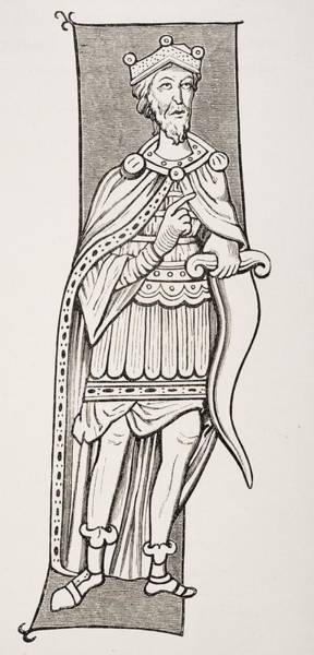 Sax Drawing - Frankish Chief Or King Armed With A by Vintage Design Pics