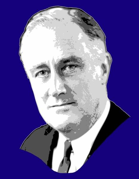 Wall Art - Digital Art - Franklin D. Roosevelt Grayscale Pop Art by Filip Hellman