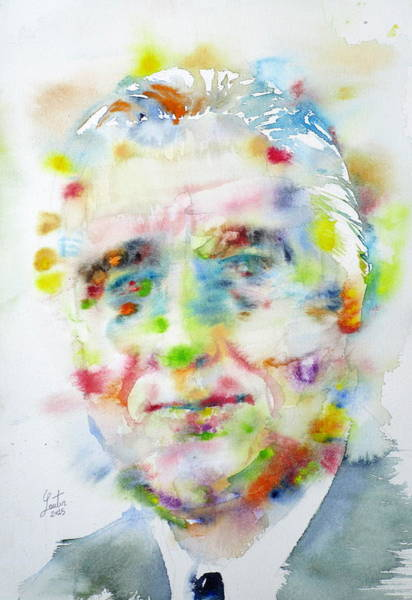 Fdr Painting - Franklin D. Roosevelt - Watercolor Portrait by Fabrizio Cassetta