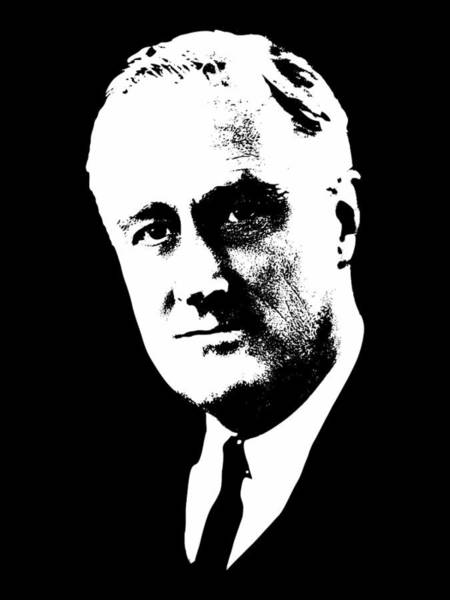 Wall Art - Mixed Media - Franklin D. Roosevelt White On Black Pop Art by Filip Hellman