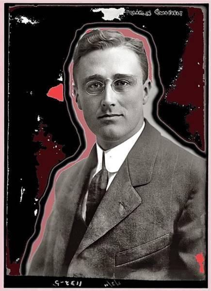 Photograph - Franklin Roosevelt On February 3 1911 Color And Drawing Added 2015 by David Lee Guss