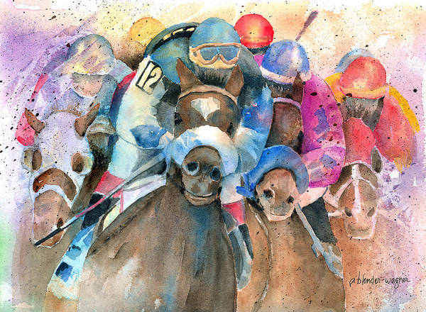 Race Horse Wall Art - Painting - Frantic Finish by Arline Wagner