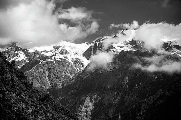 Wall Art - Photograph - Franz Josef Glacier Valley New Zealand Bw by Joan Carroll