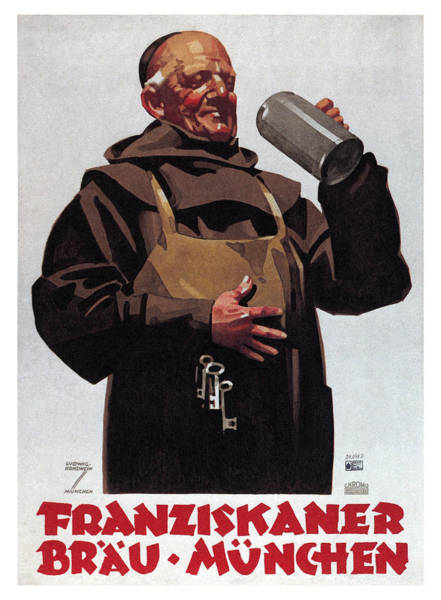 Beer Mixed Media - Franziskaner Brau - Munchen, Germany - Vintage Beer Advertising Poster by Studio Grafiikka