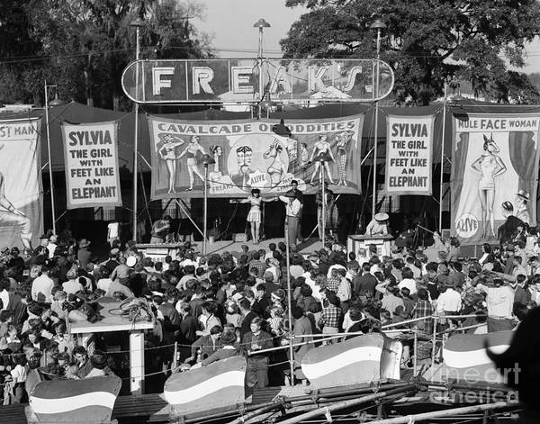Carnies Photograph - Freak Show At County Fair, C.1950s by C.S. Bauer/ClassicStock