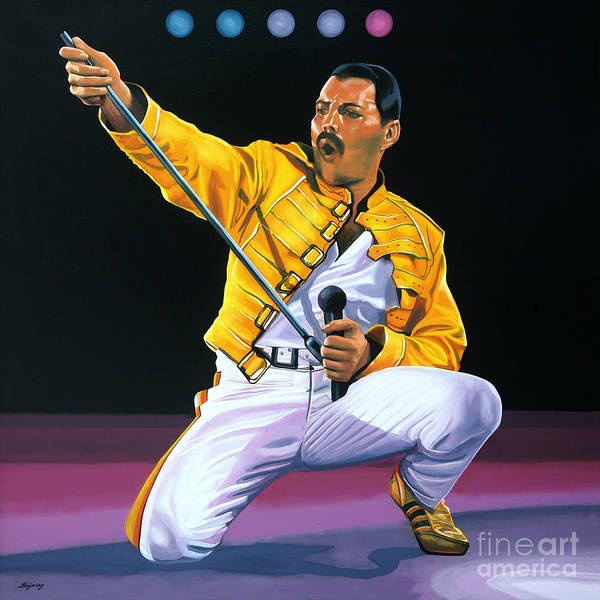 Guitarist Wall Art - Painting - Freddie Mercury Live by Paul Meijering