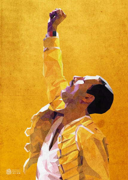 Glam Rock Digital Art - Freddie Mercury Low Poly by Flavio Lisi