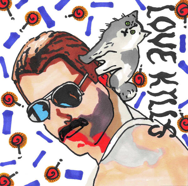 Rockstar Painting - Freddie Mercury Pop Art Painting With His Cat Tiffany by Manavi Singhal