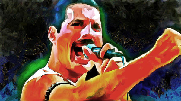Glam Rock Digital Art - Freddie Mercury by Galeria Trompiz