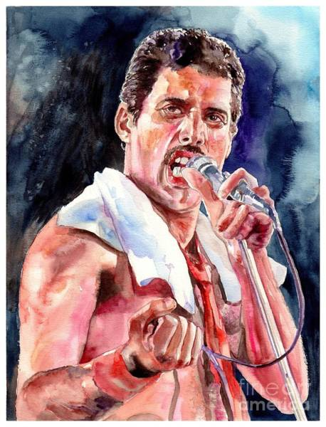 Wall Art - Painting - Freddie Mercury Singing by Suzann Sines