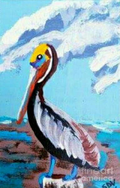 Gulf Shores Alabama Painting - Freddy The Bayou Pelican - Coastal Abstract by Scott D Van Osdol