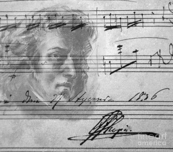 Carthusian Photograph - Frederic Chopin Portrait And Original Musical Score by Peter Barritt