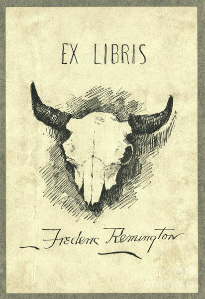 Wall Art - Photograph - Frederic Remington Cow Skull Bookplate by John Stephens