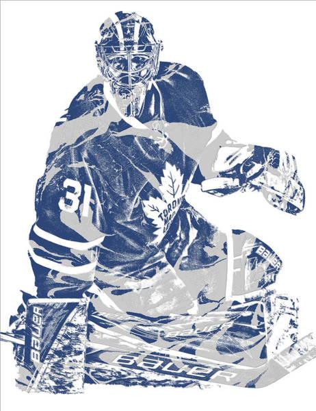 Wall Art - Mixed Media - Frederik Andersen Toronto Maple Leafs Pixel Art 1 by Joe Hamilton