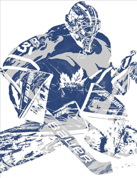 Wall Art - Mixed Media - Frederik Andersen Toronto Maple Leafs Pixel Art 2 by Joe Hamilton