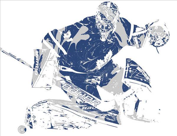 Wall Art - Mixed Media - Frederik Andersen Toronto Maple Leafs Pixel Art 5 by Joe Hamilton